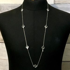 White topaz sterling silver stations necklace